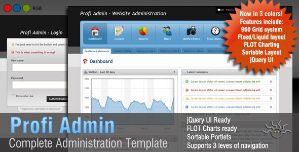 Profi Admin - Administration for the professionals - Admin Templates Site Templates - *** $20.  I think this is a good one. ***