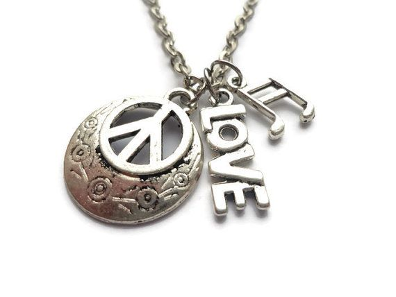 Peace Love and Music Necklace Music Necklace  by HillyBCreations