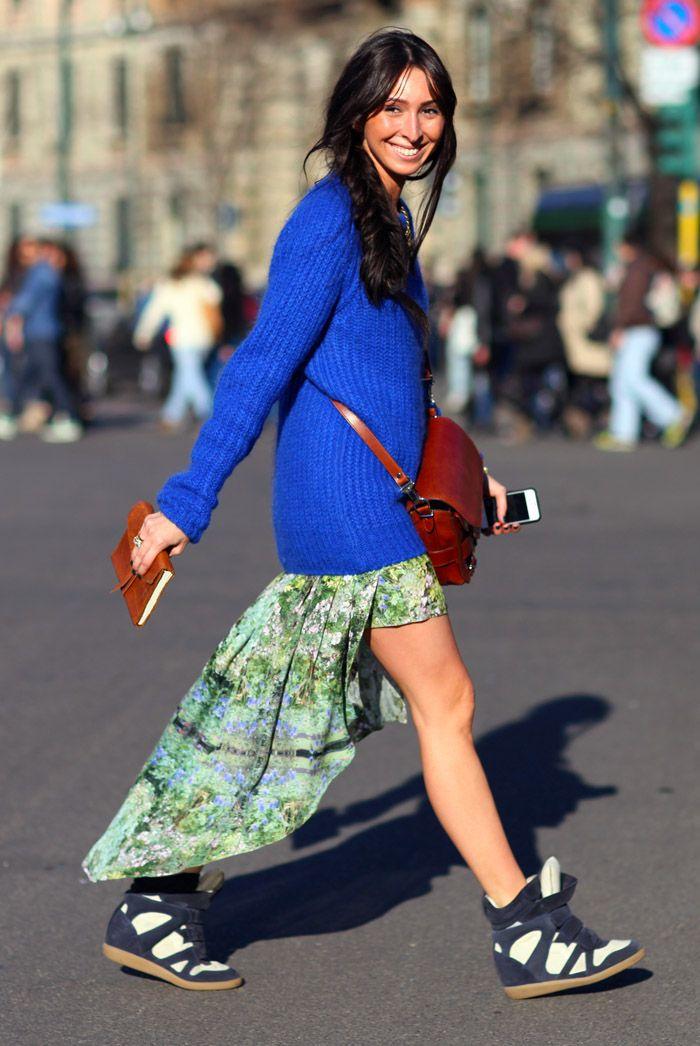 More Isabel Marant Wedge Sneakers | Street Fashion | Street Peeper | Global Street Fashion and Street StyleStreet Fashion, Marant Wedges, Full Skirts, Design Shoes, Sneakers Wedges, Blue, Street Style Fashion, Isabel Marant, Wedges Sneakers