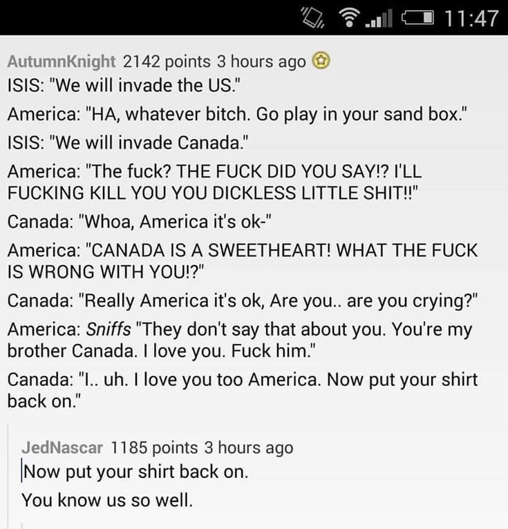 This pretty much sums up the US-Canada relationship<<-- sorry for all the language, but it was too perfect to pass up