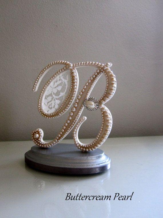 Pearl Monogram Cake Topper Letter B/ Ivory by ButtercreamPearl