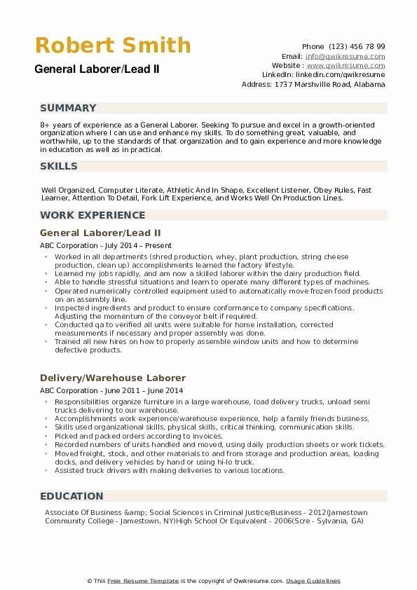 General Construction Worker Resume Best Of General Laborer Resume Samples Job Resume Samples Resume Examples Good Resume Examples