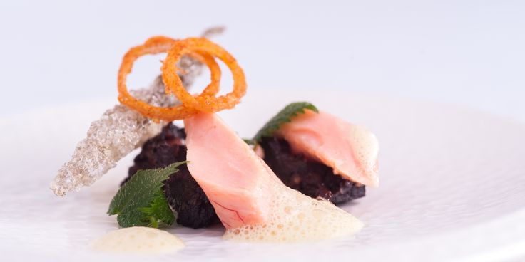 Nigel Haworth uses a water bath to butter-poach the trout in this delicious seafood starter recipe, pairing the fish with black pudding and mustard foam.