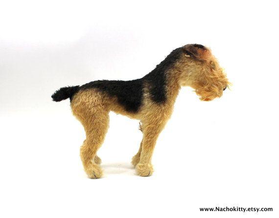 1940s Steiff Airedale Terrier Handmade German Toy by Nachokitty, $345.00