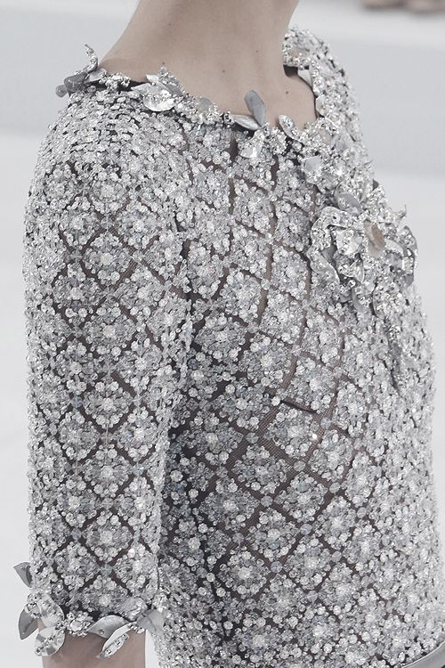Dress with dainty tile patterned embellishment; elegant fashion details // Chanel Haute Couture