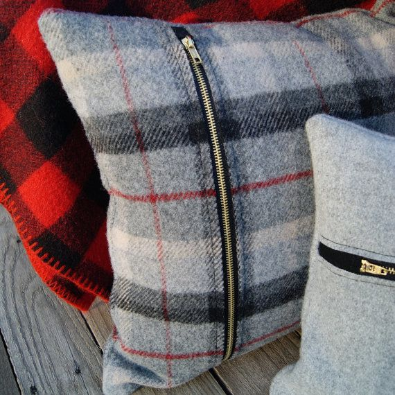 Classic Grey Plaid Wool Pillow by BurlapandGraceMarket on Etsy