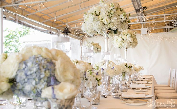 Lush White and Blue Wedding Reception by Soiree Floral (www.soireefloral.com) | Nantucket Wedding at the White Elephant Hotel #soireefloral #nantucket