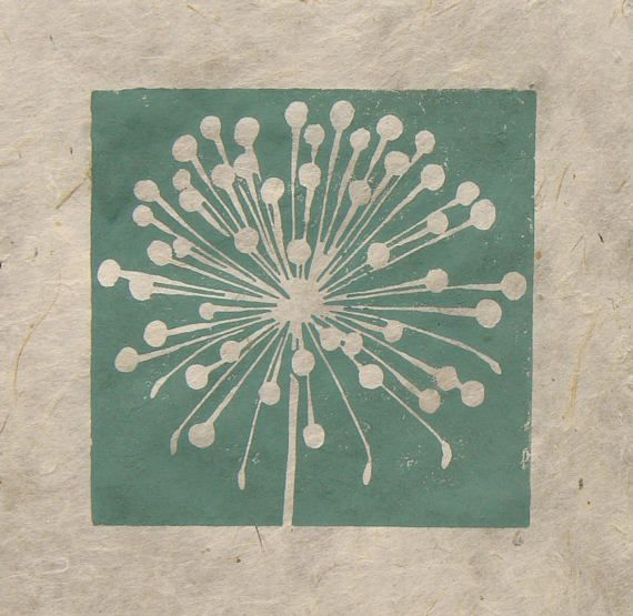 A new set of mini prints, single colour original linocut prints of seed heads, all about pattern and form, the shapes are beautiful, and so varied, and all specifically designed to complete an important task. Nature is amazing. The image measures just 8cm square and is printed onto hand