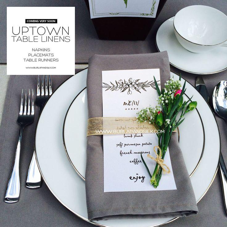 Gray Napkins for Weddings   Burlap and Silk