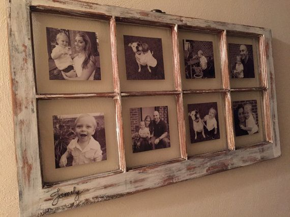 Window picture frame, personalized distressed 8 pane rustic picture frame wall mount.