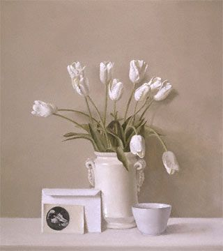"""""""White Tulips, Holbein and Ironstone Bowl"""" by Raymond Han"""