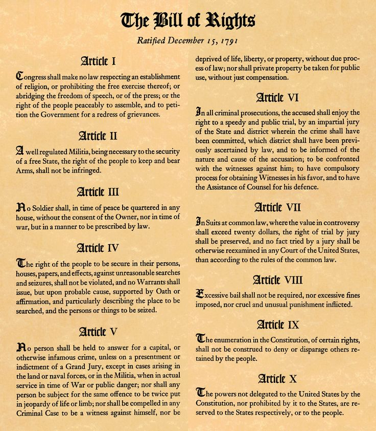 12/15/1791 - In the U.S., the first ten amendments to the Constitution, known as the Bill of Rights, went into effect following ratification by the state of Virginia.