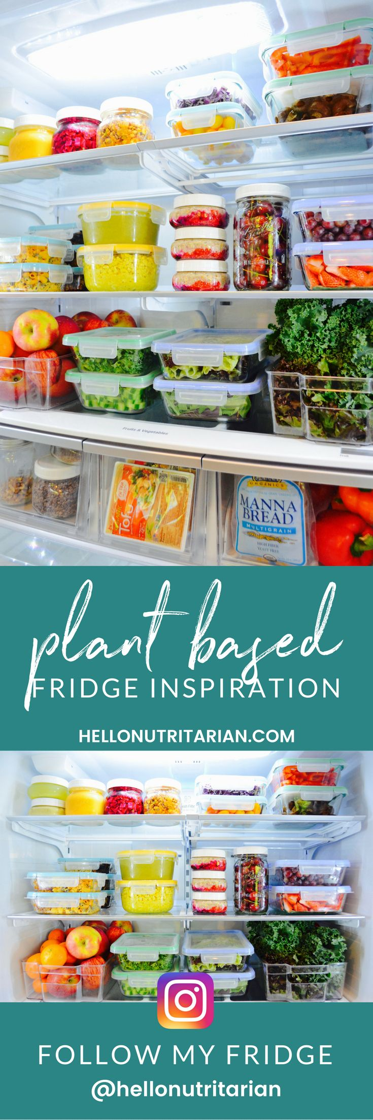 Plant based fridge inspiration!  If you're ready to go whole food plant based and ditched all the processed and animal foods from your life--your fridge is the perfect place to start!  Click through to learn all about food storage containers, refrigerator organization and my favorite last-forever-in-the-fridge recipes for batch cooking on the weekends!  I share pics of my fridge weekly, so stay tuned!  xo, Kristen #fridgegoals #refrigerator #wholefoodplantbased #whatthehealth