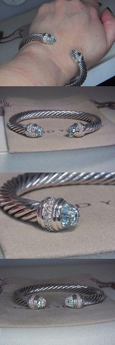 Other Fine Bracelets 3839: David Yurman 7Mm Prasiolite Sterling Silver Diamond Cuff Bracelet - Medium BUY IT NOW ONLY: $750.0
