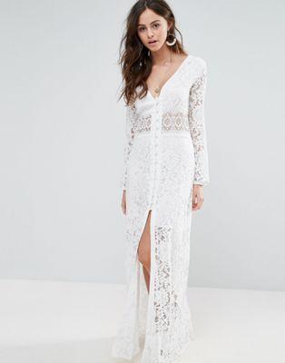 Кружевное платье макси с пуговицами Boohoo