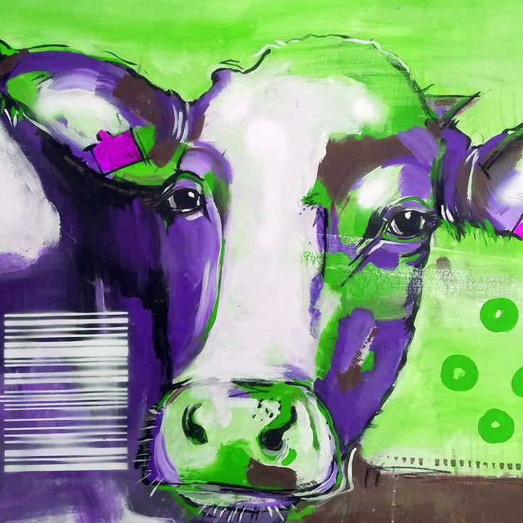 """Kunstdruck auf Leinwand direkt vom Künstler kaufen """"Kuh in Lila"""" #artforsale #art #canvas"""