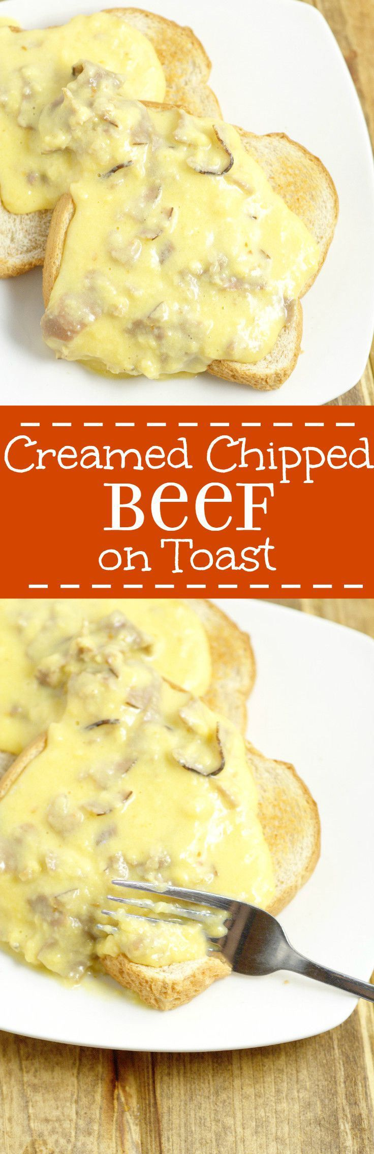 Creamed Chipped Beef is an easy, frugal comfort food dinner recipe, with a creamy, cheesy white sauce and roast beef deli meat, served over golden crunch toast.  Love! Perfect for a cheap family dinne (Favorite Pins Ground Beef)