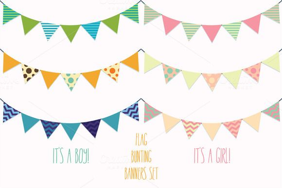 Check out Flag Banners, Bunting Vector Clipart by Digital Sugar on Creative Market
