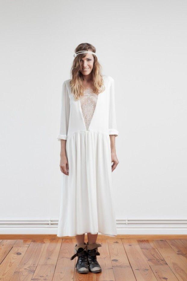 Robe de mariée longueur chevilles, style bohème rock - Robe Ono ...