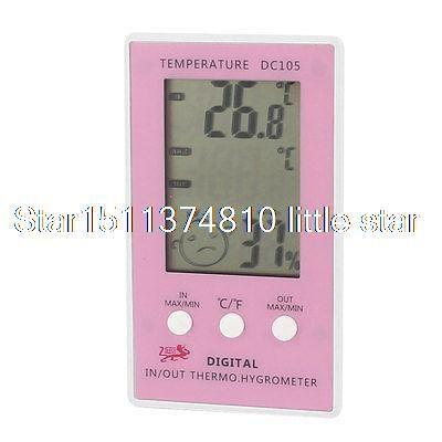 Купить товарDc105 помещении на открытом воздухе температура измерения влажности розовый белый в категории Термометрические приборына AliExpress.       Название продукта  Цифровой термометр ж гигрометр    Модель  DC105    Мощность  1x1.5 В ААА батареи (не включены)