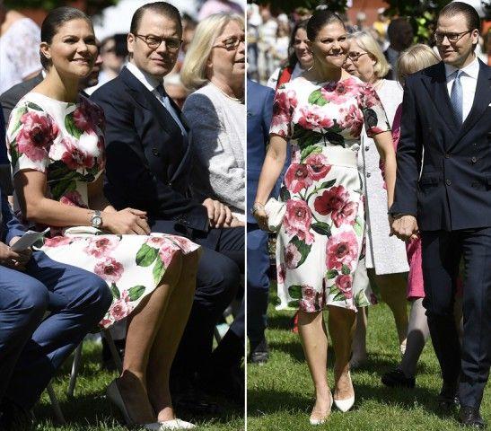 CHI: Victoria di Svezia DOVE: Stoccolma LOOK: floreale. La principessa in un abito sui toni del rosa con stampa a fiori e cintura abbinata a Jarfalla per celebrare la festa Nazionale Svedese. Con lei il marito il principe Daniel.