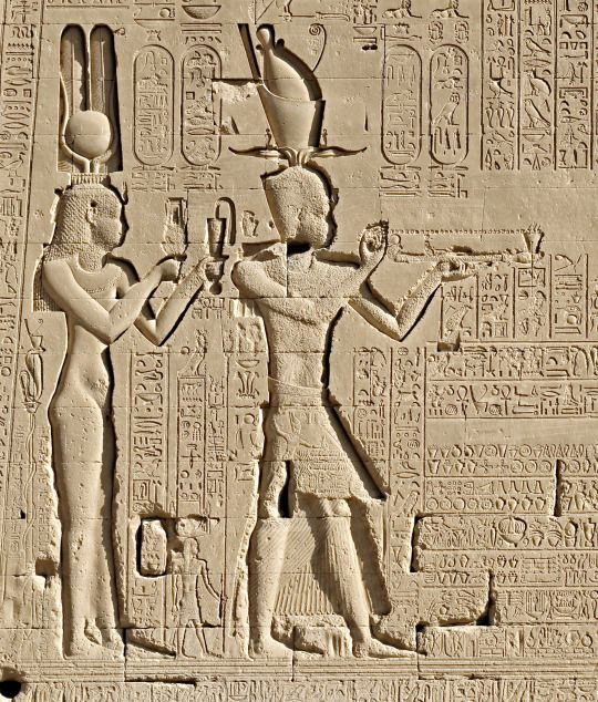 Section from the rear wall of the temple of Hathor at Dendara. Here we can see Cleopatra VII and Ptolemy XV Caesarion (the son of Cleopatra and Julius Caesar) offering to the deities of Dendara. Caesarion (as he was nicknamed) was placed on the Egyptian throne as Cleopatra's co-ruler following his father's assassination in 44 BCE. Photo take by kairoinfo4u