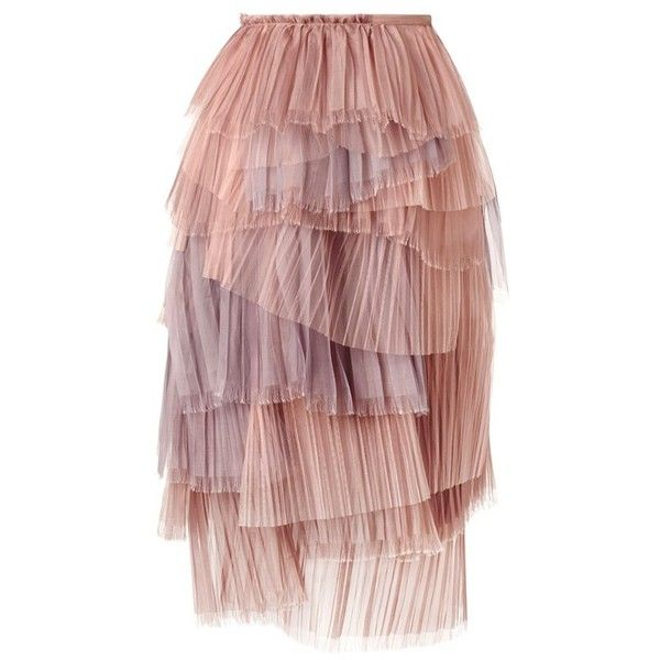 Burberry Prorsum Tiered Cobweb Tulle Skirt via Polyvore