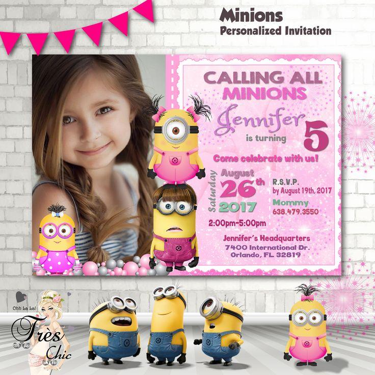 Minion Invitation,Girl Minion Invitation,Pink Minion Invitation,Minion Party Supplies,Minions Pink,Pink Minions Birthday,Minions Birthday by OhhLaLaTresChic on Etsy