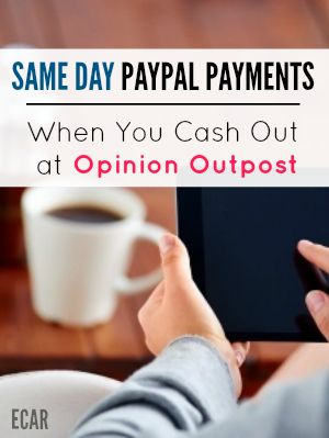 Opinion Outpost is a popular survey panel that pays fast for the surveys you take once you have enough to cash out. The money will normally go to your Paypal account the same day you request it -- within minutes.