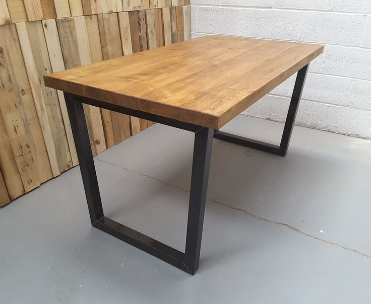 Rustic Industrial Reclaimed Wood Dining Table Metal U frame Various Size UK made