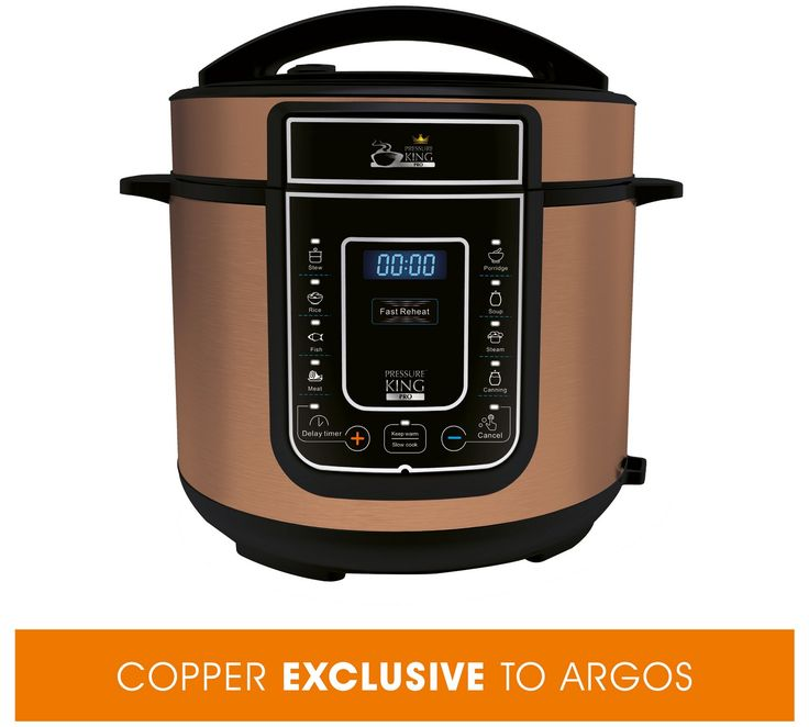 Buy 5L Pressure King Pro Copper 12-in-1 Digital Pressure Cooker at Argos.co.uk, visit Argos.co.uk to shop online for Pressure cookers, Cookware, Cooking, dining and kitchen equipment, Home and garden