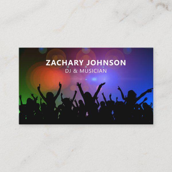 Dj Musician Music Party Business Card Zazzle Com Dj Business Cards Music Party Dj