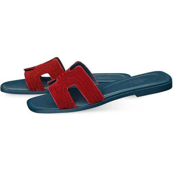 Hermès Shoes Hermès Sandals (9505 MAD) ❤ liked on Polyvore featuring shoes, sandals, chevron shoes, leather sole sandals, leather sole shoes, embroidered sandals and embroidered shoes