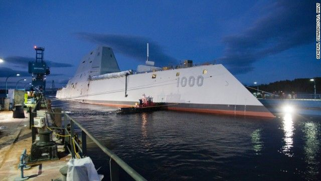 The USS Zumwalt, the U.S. Navy's newest warship, floats out of dry dock Monday, October 28, in Bath, Maine. The first of the new