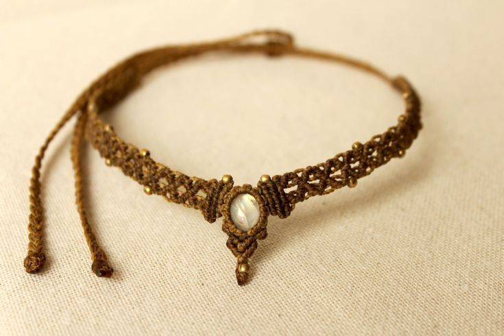 Handmade brown and bronze choker macrame necklace