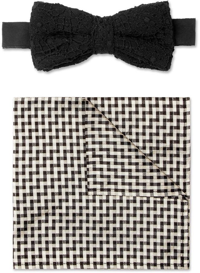Marwood Cotton-Lace and Silk Bow Tie and Pocket Square Set