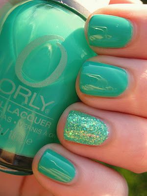 #Sea green with glitter nails manicures nailart naildesign nailpolish