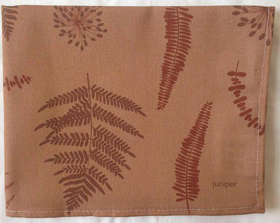 Fern tea towel  brown ferns  fern kitchen towel  in 100%