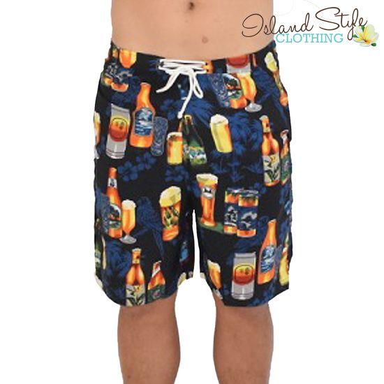 Mens Shorts Black Beer - fun Boardies for luau, cruise, schoolies or casual.