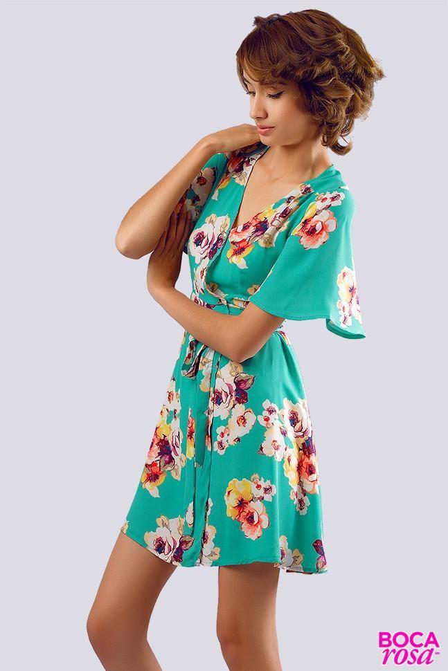Vestido floreado con lazada  021abfa69d57