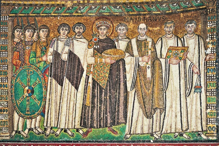 Emperor Justinian is shown dressed in a royal purple chlamys and jeweled stemma. He raises his hands in offering as he holds a gold paten, displaying his patterned tablion, a supplemental textile bearing a repeat pattern and most likely produced on a drawloom. He surrounds himself by the more austerely dressed bishops and by his top general, Belisarius. Soldiers at the edge of the frame reinforce the emperor's military successes and his position as commander. 547AD