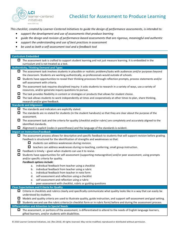 Checklist For Assessment To Produce Learning Learner Centered