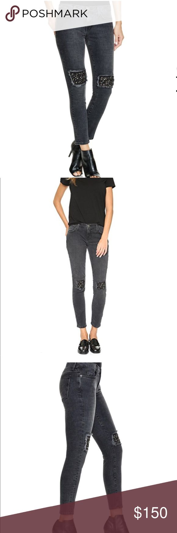"""CURRENT/ELLIOTT the stiletto skinny black jeans CURRENT/ELLIOTT the stiletto skinny black jeans. NWT. Size 25  The Stiletto: True 80's skinny that hugs every curve. Cropped at the ankle to show off your favorite shoes. Zip fly with button closure, 98% cotton 2% elastane. Embellishments at knees. Machine wash cold inside out, tumble low. Color is Nighthouse and is a washed out black.   Length: 35.5"""" Rise: 8"""" Waist: approx 14.5"""" Current/Elliott Jeans Ankle & Cropped"""