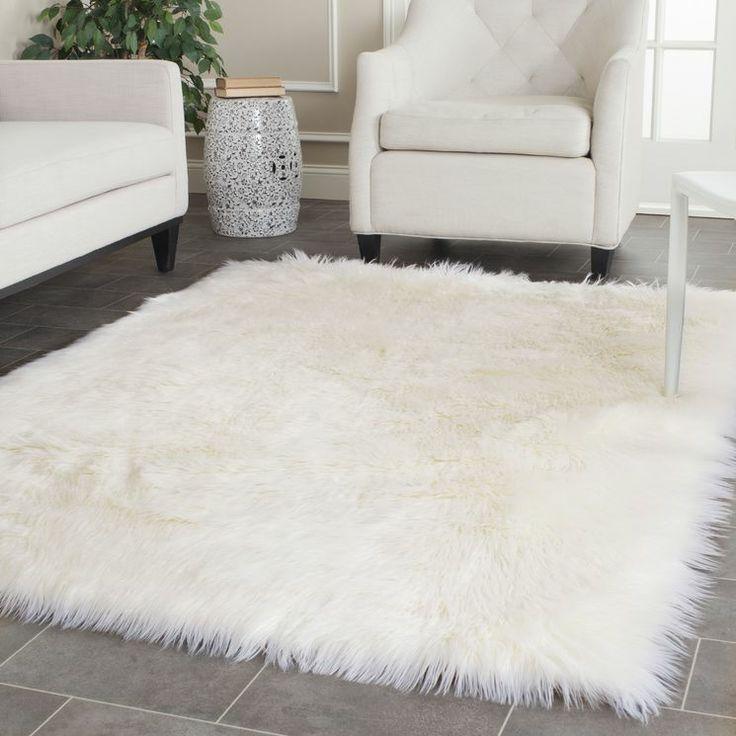Faux Sheep Skin Ivory 5' x 7' Rug