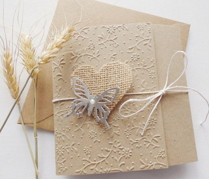 Butterfly handmade wedding invitation/Kraft wedding invitation/Burlap heart invitation/ by mirelaemilia on Etsy