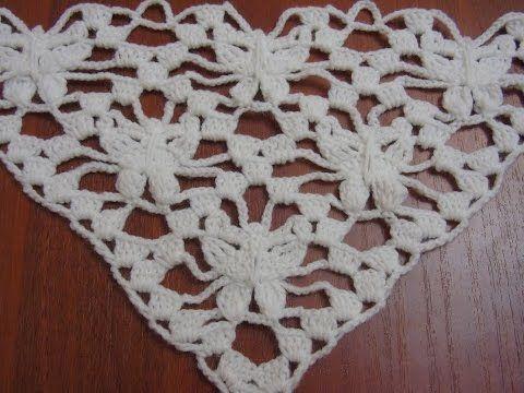 ♥ Узор крючком для шали-бактуса ЛУННЫЕ БАБОЧКИ • Шаль Лунная бабочка • Crochet Moon Butterfly Shawl - YouTube