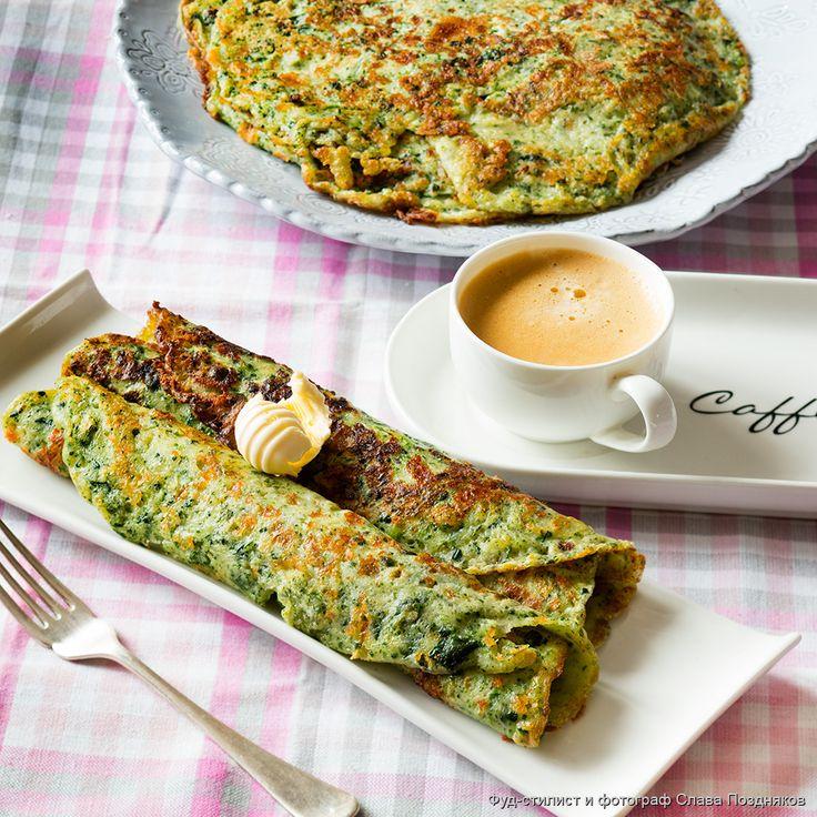 Рецепт - Сырные блинчики со шпинатом - с фото