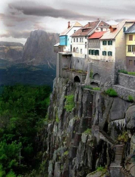 Homes on Scottish cliffs.