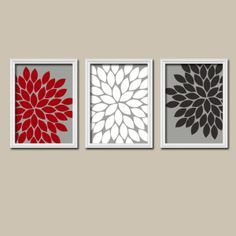 Red White Black Grey Charcoal Flower Burst Gerbera Daisies Artwork Set Of 3  Trio Prints Wall