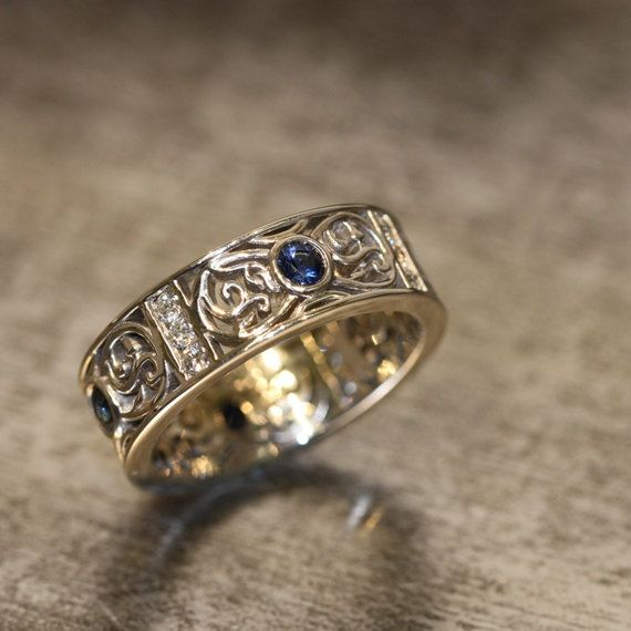 14k White Gold Celtic Wedding Band Diamond and Sapphire Wedding Ring Bezel Set Sapphire Ring (Other Metals & Stones Available) on Etsy, $1,486.00